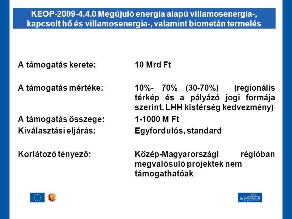 A támogatás kerete:10 Mrd Ft A támogatás mértéke:10%- 70% (30-70%) (regionális térkép és a pályázó jogi formája szerint, LHH kistérség kedvezmény) A t