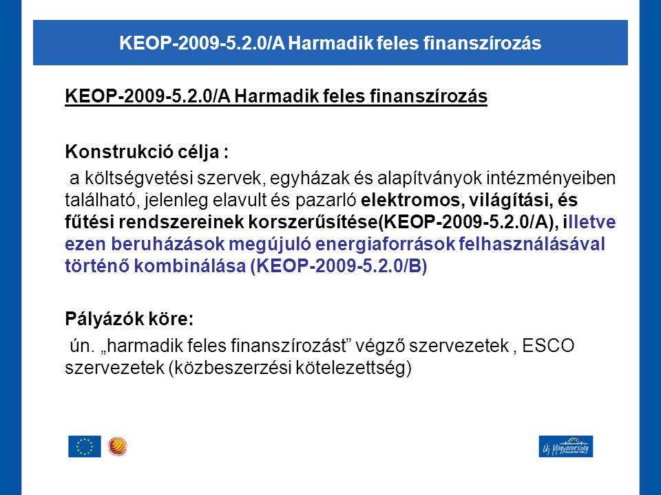 KEOP-2009-5.2.0/A Harmadik feles finanszírozás Konstrukció célja : a költségvetési szervek, egyházak és alapítványok intézményeiben található, jelenle