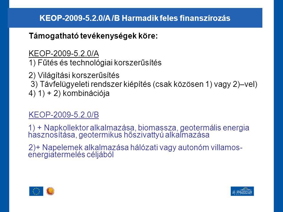 Támogatható tevékenységek köre: KEOP-2009-5.2.0/A 1) Fűtés és technológiai korszerűsítés 2) Világítási korszerűsítés 3) Távfelügyeleti rendszer kiépít