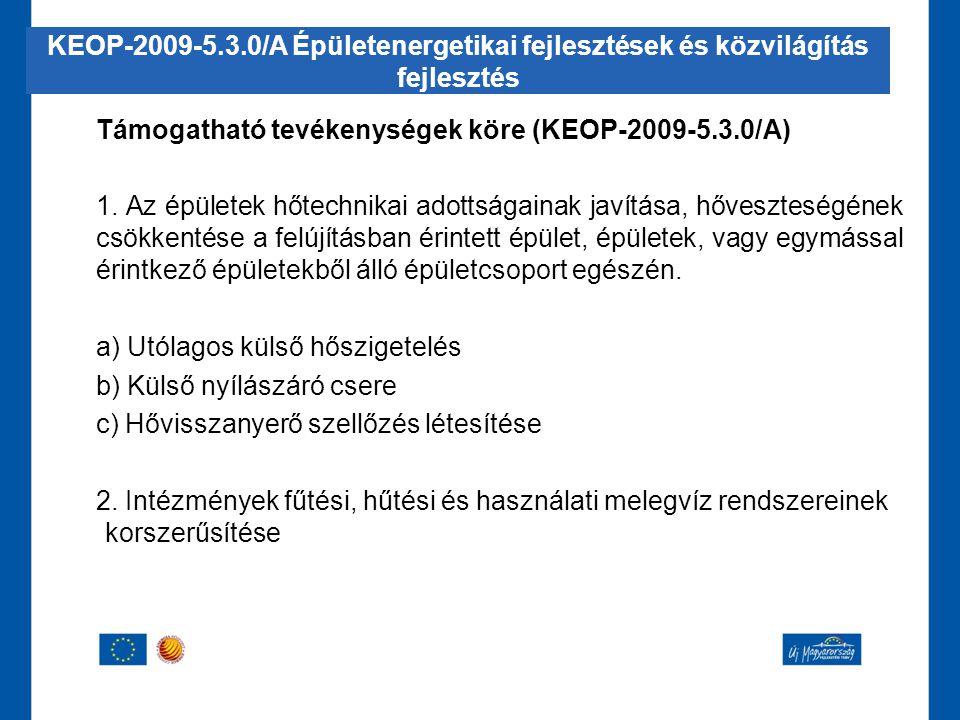 Támogatható tevékenységek köre (KEOP-2009-5.3.0/A) 1. Az épületek hőtechnikai adottságainak javítása, hőveszteségének csökkentése a felújításban érint