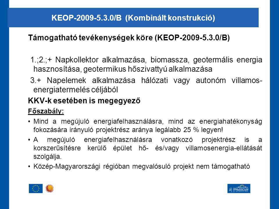 Támogatható tevékenységek köre (KEOP-2009-5.3.0/B) 1.;2.;+ Napkollektor alkalmazása, biomassza, geotermális energia hasznosítása, geotermikus hőszivat