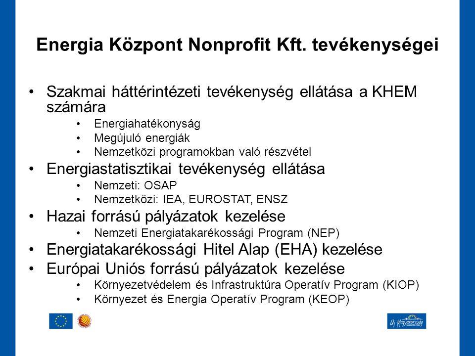 •Szakmai háttérintézeti tevékenység ellátása a KHEM számára •Energiahatékonyság •Megújuló energiák •Nemzetközi programokban való részvétel •Energiasta