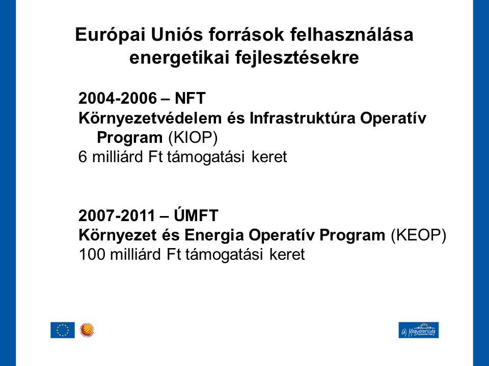 2004-2006 – NFT Környezetvédelem és Infrastruktúra Operatív Program (KIOP) 6 milliárd Ft támogatási keret 2007-2011 – ÚMFT Környezet és Energia Operat