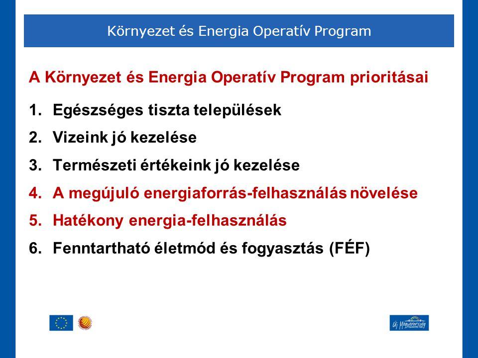 A Környezet és Energia Operatív Program prioritásai 1.Egészséges tiszta települések 2.Vizeink jó kezelése 3.Természeti értékeink jó kezelése 4.A megúj