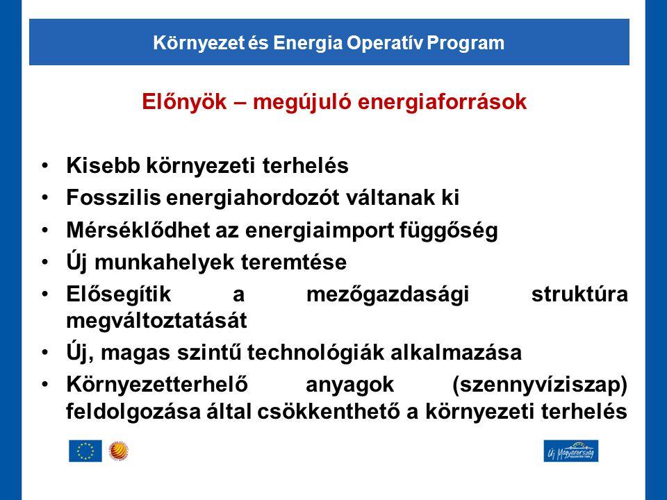 Előnyök – megújuló energiaforrások •Kisebb környezeti terhelés •Fosszilis energiahordozót váltanak ki •Mérséklődhet az energiaimport függőség •Új munk