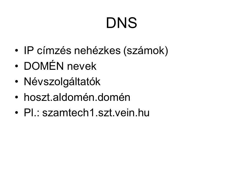 DNS •IP címzés nehézkes (számok) •DOMÉN nevek •Névszolgáltatók •hoszt.aldomén.domén •Pl.: szamtech1.szt.vein.hu