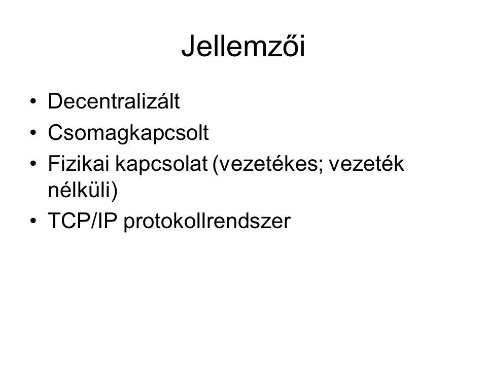 Jellemzői •Decentralizált •Csomagkapcsolt •Fizikai kapcsolat (vezetékes; vezeték nélküli) •TCP/IP protokollrendszer