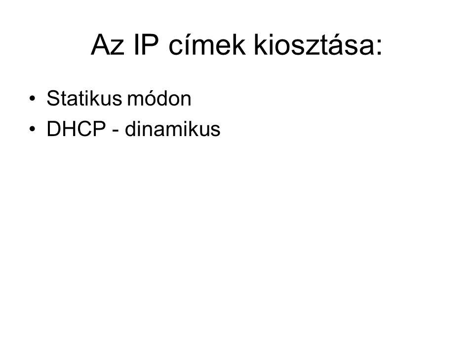 Az IP címek kiosztása: •Statikus módon •DHCP - dinamikus