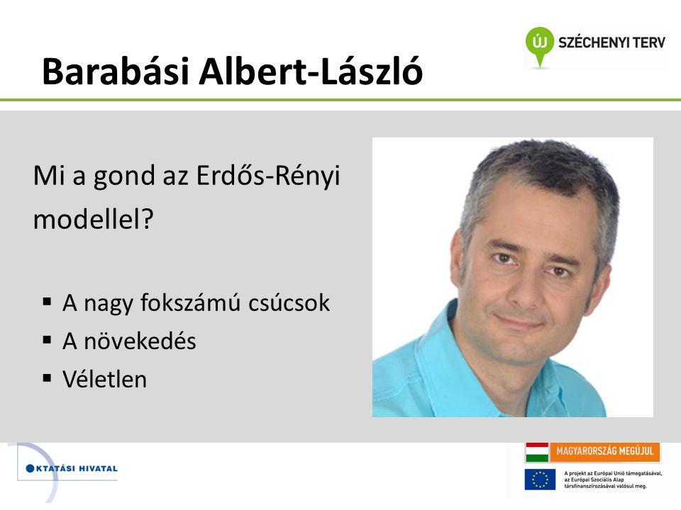 Barabási Albert-László Mi a gond az Erdős-Rényi modellel?  A nagy fokszámú csúcsok  A növekedés  Véletlen libri.hu