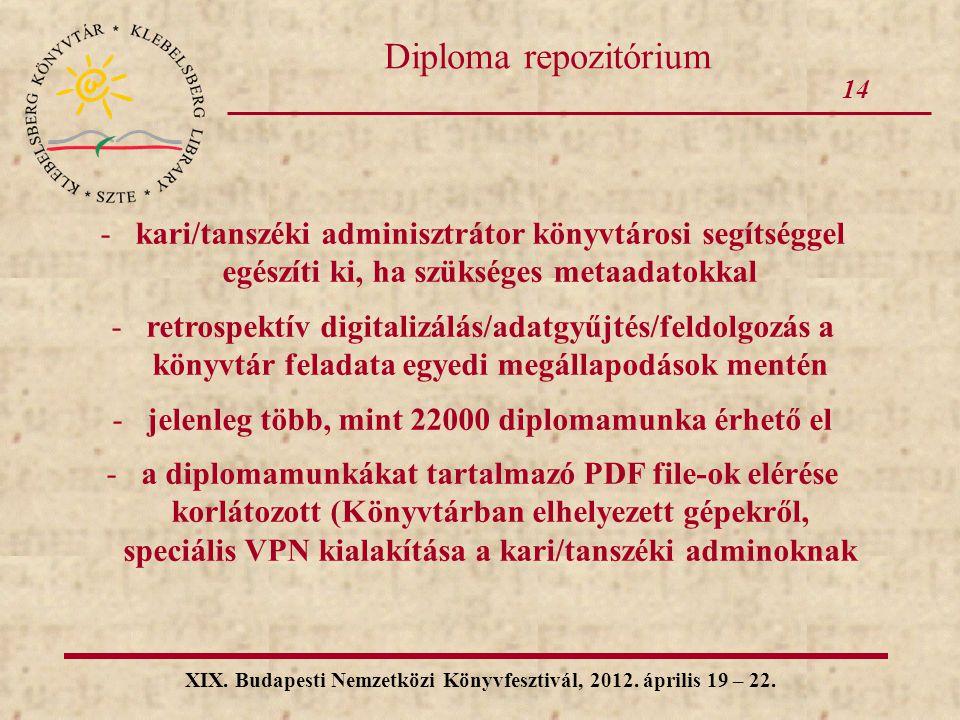 14 XIX. Budapesti Nemzetközi Könyvfesztivál, 2012. április 19 – 22. Diploma repozitórium -kari/tanszéki adminisztrátor könyvtárosi segítséggel egészít