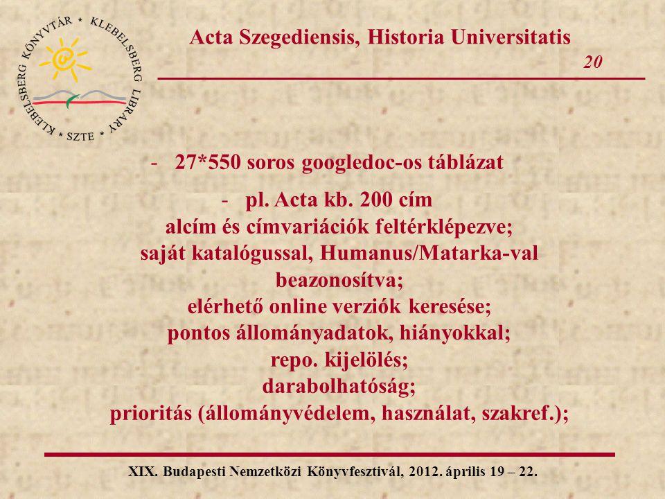 20 XIX. Budapesti Nemzetközi Könyvfesztivál, 2012. április 19 – 22. Acta Szegediensis, Historia Universitatis -27*550 soros googledoc-os táblázat -pl.