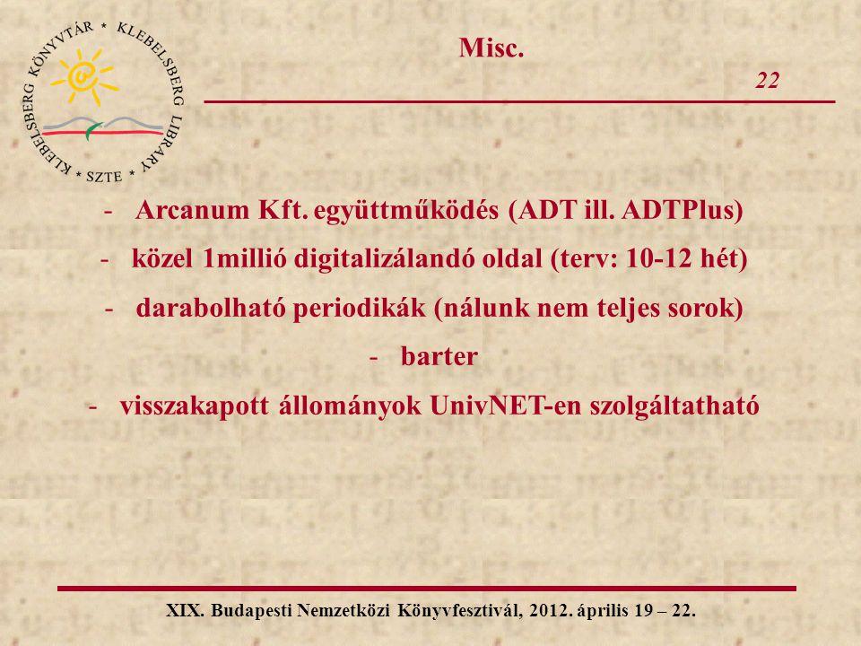 22 XIX. Budapesti Nemzetközi Könyvfesztivál, 2012. április 19 – 22. Misc. -Arcanum Kft. együttműködés (ADT ill. ADTPlus) -közel 1millió digitalizáland