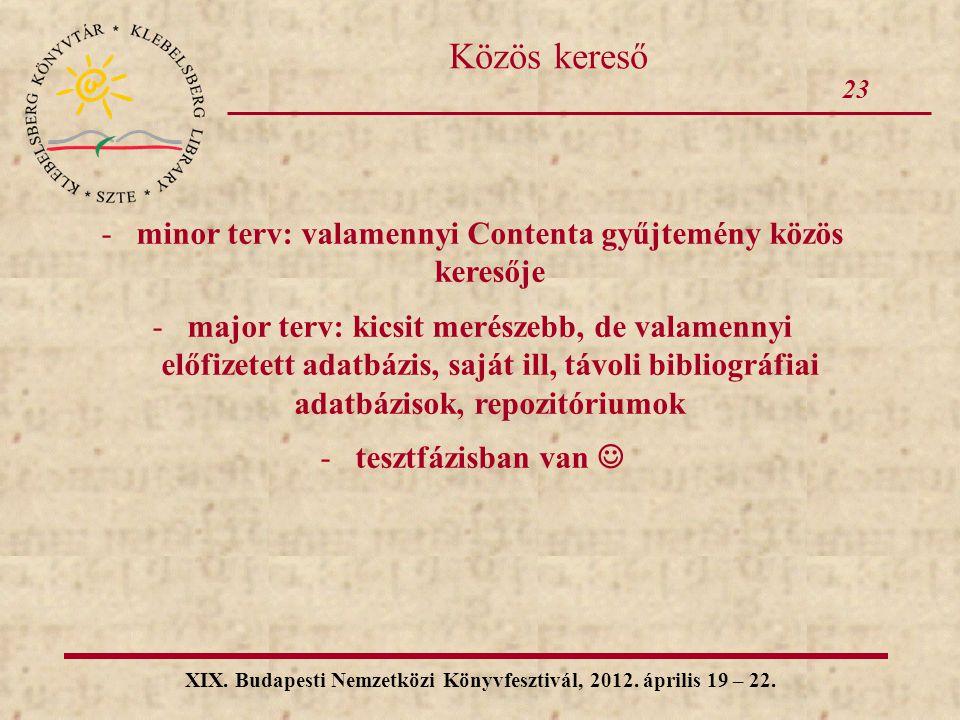 23 XIX. Budapesti Nemzetközi Könyvfesztivál, 2012. április 19 – 22. Közös kereső -minor terv: valamennyi Contenta gyűjtemény közös keresője -major ter
