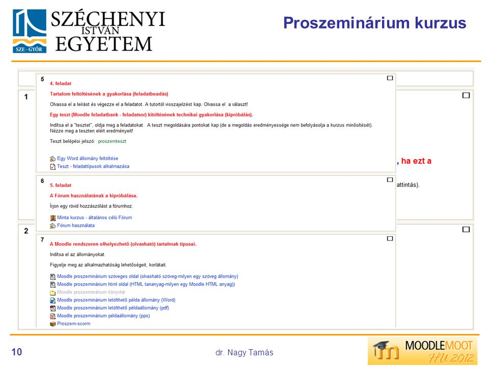 dr. Nagy Tamás 10 Proszeminárium kurzus