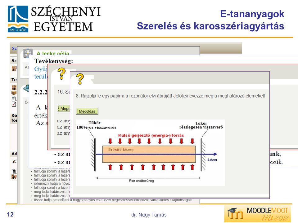 dr. Nagy Tamás 12 E-tananyagok Szerelés és karosszériagyártás