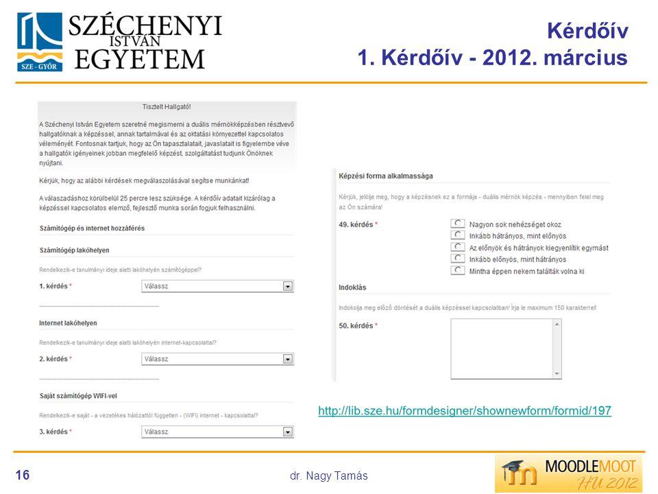dr. Nagy Tamás 16 Kérdőív 1. Kérdőív - 2012. március