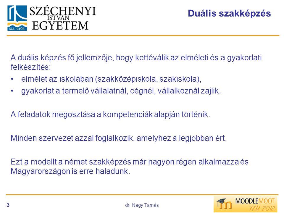 dr. Nagy Tamás 3 Duális szakképzés A duális képzés fő jellemzője, hogy kettéválik az elméleti és a gyakorlati felkészítés: •elmélet az iskolában (szak