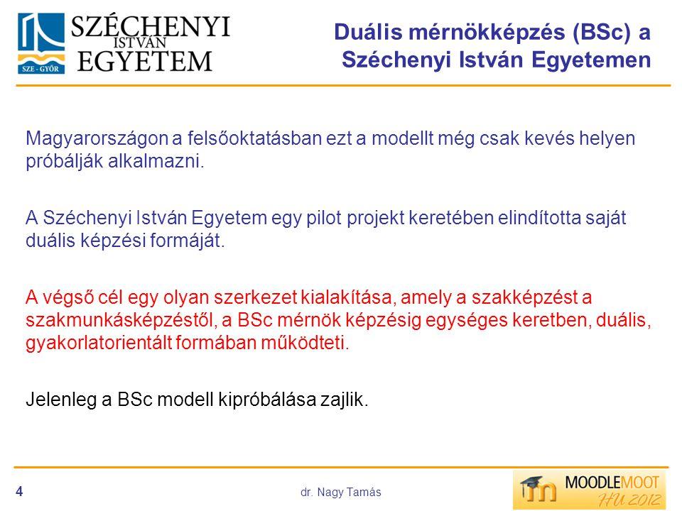dr. Nagy Tamás 4 Duális mérnökképzés (BSc) a Széchenyi István Egyetemen Magyarországon a felsőoktatásban ezt a modellt még csak kevés helyen próbálják