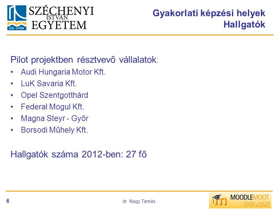 dr. Nagy Tamás 6 Gyakorlati képzési helyek Hallgatók Pilot projektben résztvevő vállalatok : •Audi Hungaria Motor Kft. •LuK Savaria Kft. •Opel Szentgo