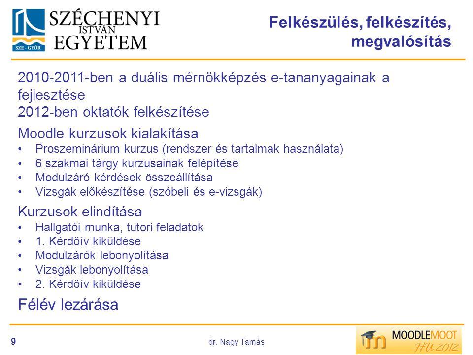 dr. Nagy Tamás 9 Felkészülés, felkészítés, megvalósítás 2010-2011-ben a duális mérnökképzés e-tananyagainak a fejlesztése 2012-ben oktatók felkészítés