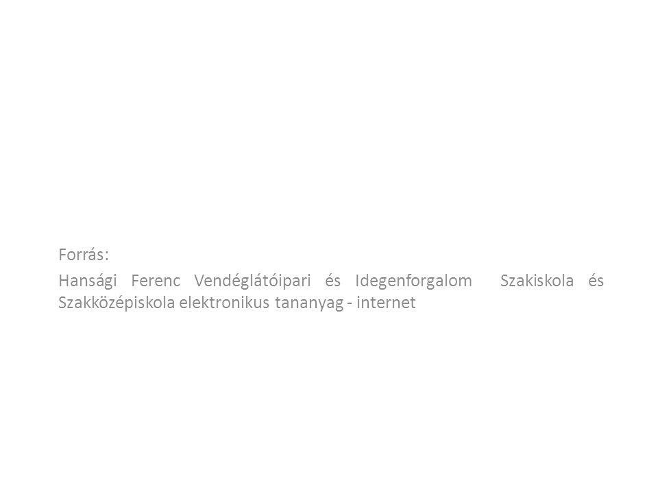 Forrás: Hansági Ferenc Vendéglátóipari és Idegenforgalom Szakiskola és Szakközépiskola elektronikus tananyag - internet
