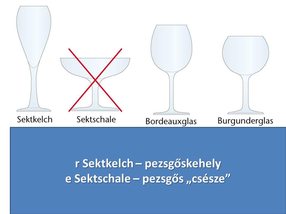 """r Sektkelch – pezsgőskehely e Sektschale – pezsgős """"csésze"""