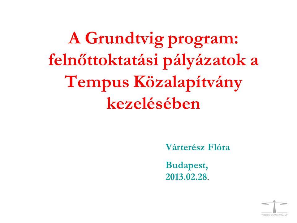 A Grundtvig program: felnőttoktatási pályázatok a Tempus Közalapítvány kezelésében Várterész Flóra Budapest, 2013.02.28.