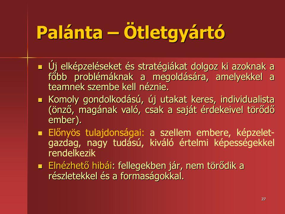 27 Palánta – Ötletgyártó  Új elképzeléseket és stratégiákat dolgoz ki azoknak a főbb problémáknak a megoldására, amelyekkel a teamnek szembe kell néz