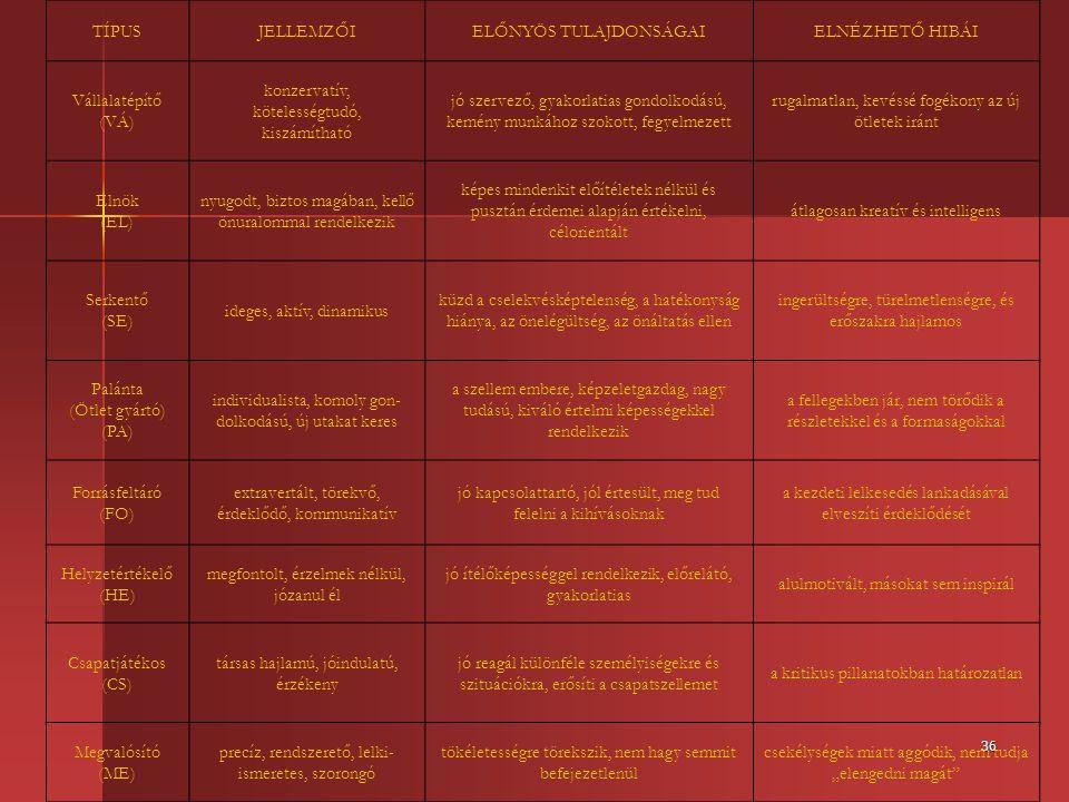 36 TÍPUSJELLEMZŐIELŐNYÖS TULAJDONSÁGAIELNÉZHETŐ HIBÁI Vállalatépítő (VÁ) konzervatív, kötelességtudó, kiszámítható jó szervező, gyakorlatias gondolkod