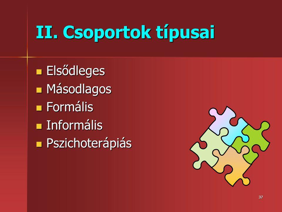 37 II. Csoportok típusai  Elsődleges  Másodlagos  Formális  Informális  Pszichoterápiás