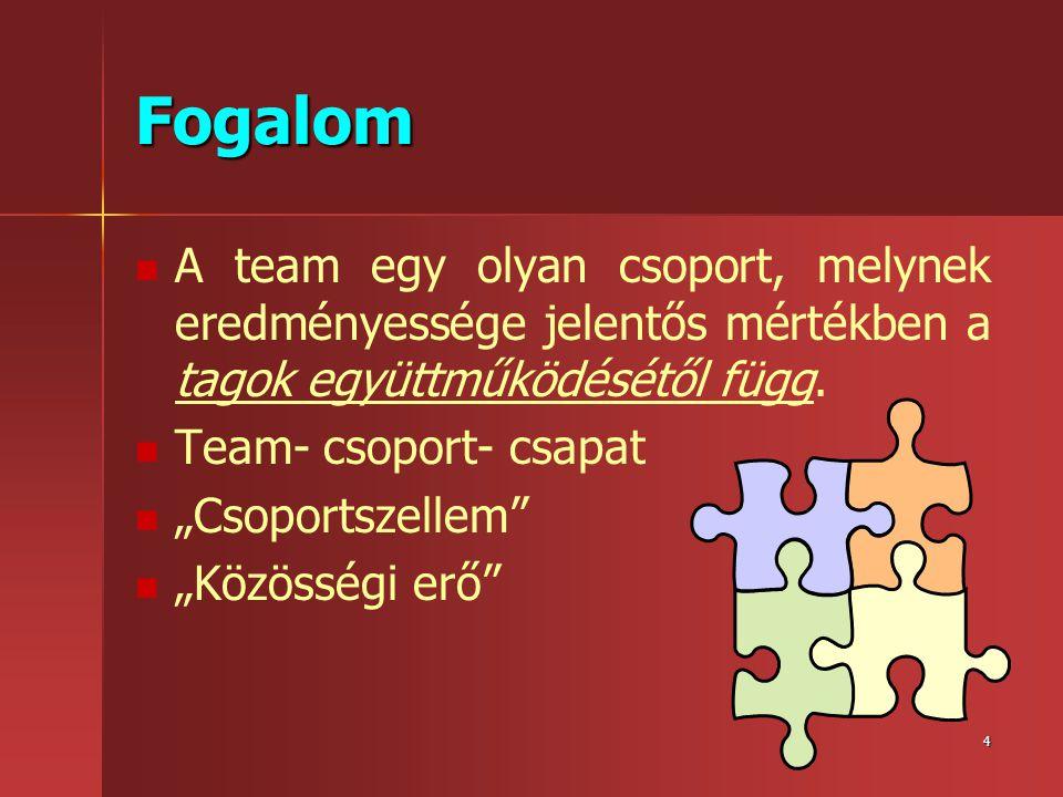 """4 Fogalom   A team egy olyan csoport, melynek eredményessége jelentős mértékben a tagok együttműködésétől függ.   Team- csoport- csapat   """"Csopo"""
