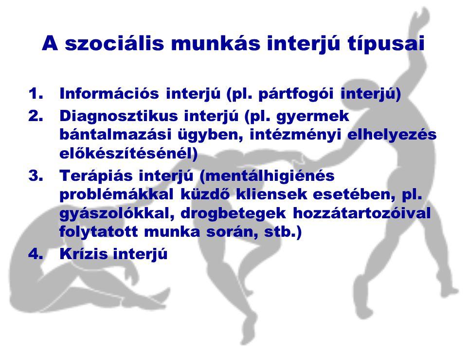 A szociális munkás interjú típusai 1.Információs interjú (pl.