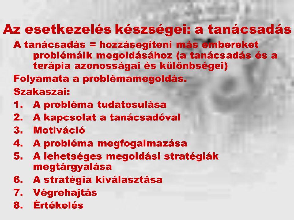Az esetkezelés készségei: a tanácsadás A tanácsadás = hozzásegíteni más embereket problémáik megoldásához (a tanácsadás és a terápia azonosságai és különbségei) Folyamata a problémamegoldás.