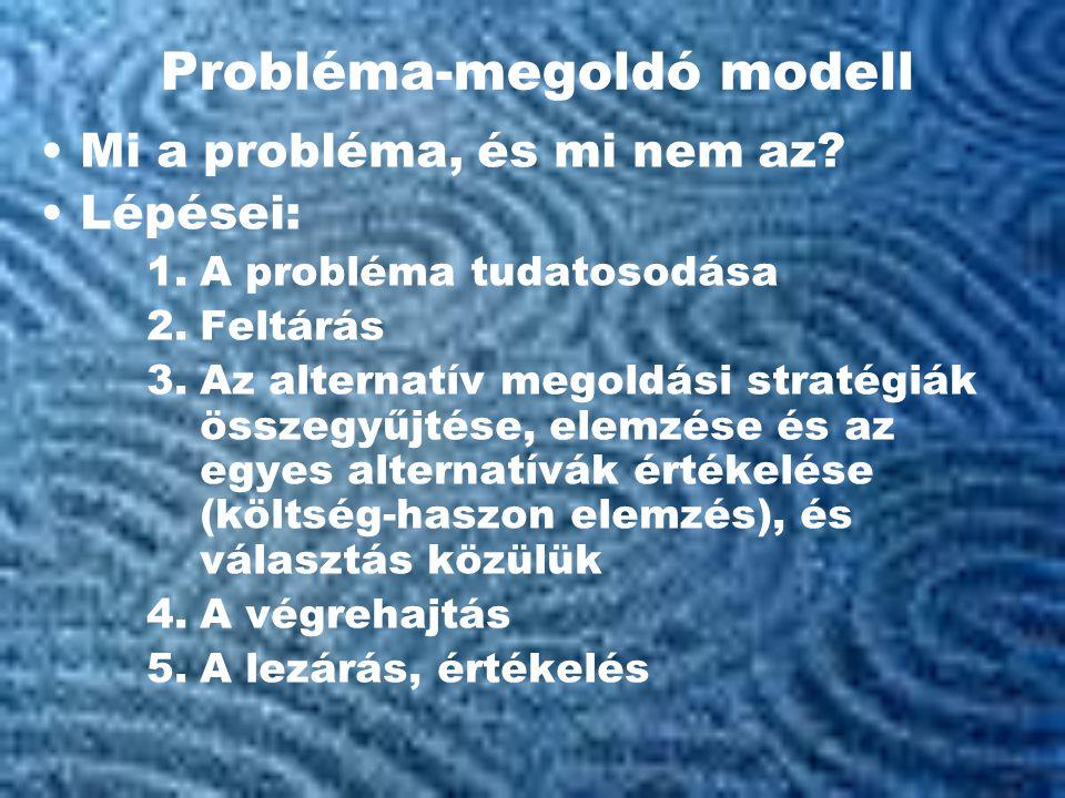 Probléma-megoldó modell •Mi a probléma, és mi nem az.