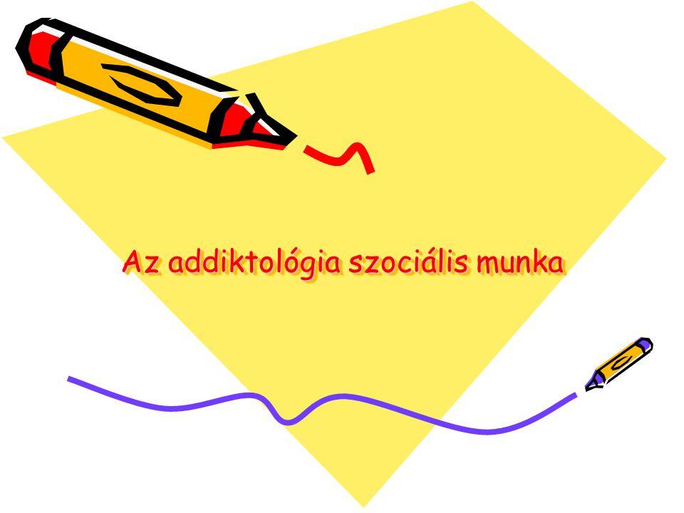 Szenvedélybetegekkel végzett szociális munka •FEJEZETEK: 1.Az addiktológiai szociális munka története 2.Az addiktológiai szociális munka létrejöttének okai 3.Drog, intoxikáció, szűrés 4.Megelőzés, ártalomcsökkentés 5.Család és iskola 6.Kortársak, sorstársak 7.Addiktológiai terápiás közösségek 8.A felépülés dinamikája