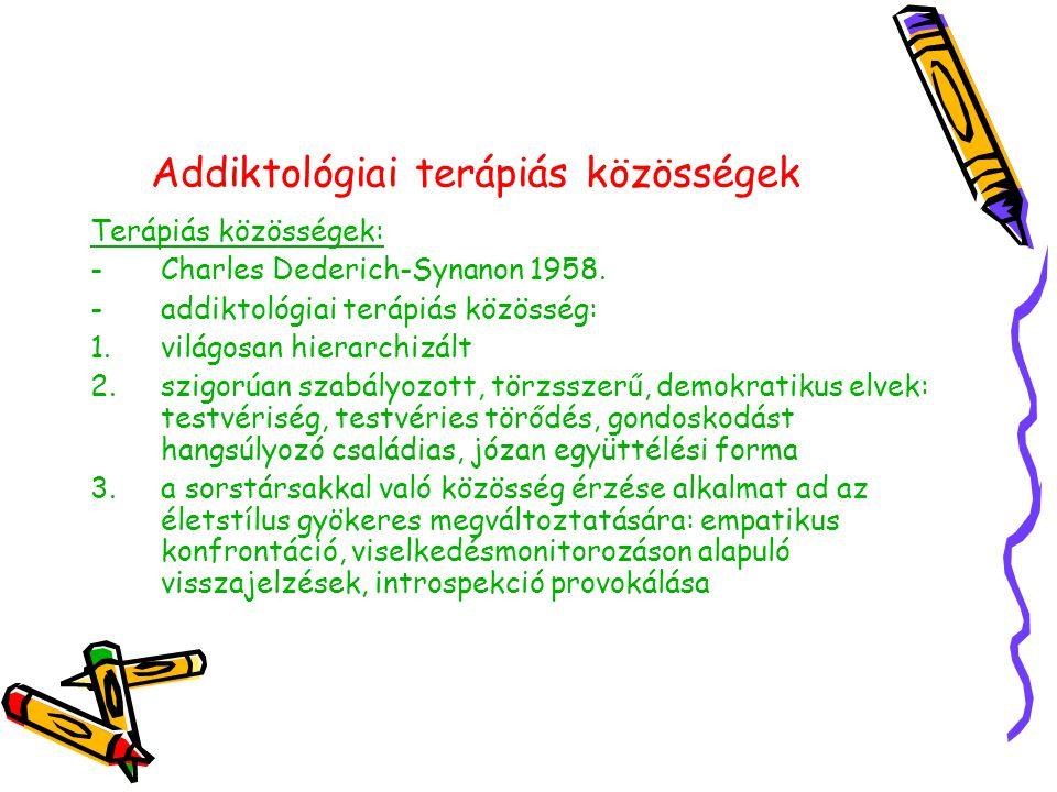 Addiktológiai terápiás közösségek Terápiás közösségek: -Charles Dederich-Synanon 1958.