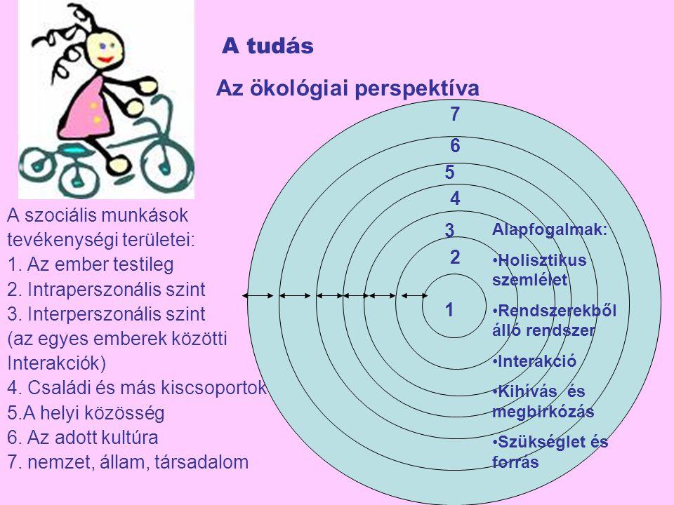 A tudás Az ökológiai perspektíva A szociális munkások tevékenységi területei: 1. Az ember testileg 2. Intraperszonális szint 3. Interperszonális szint