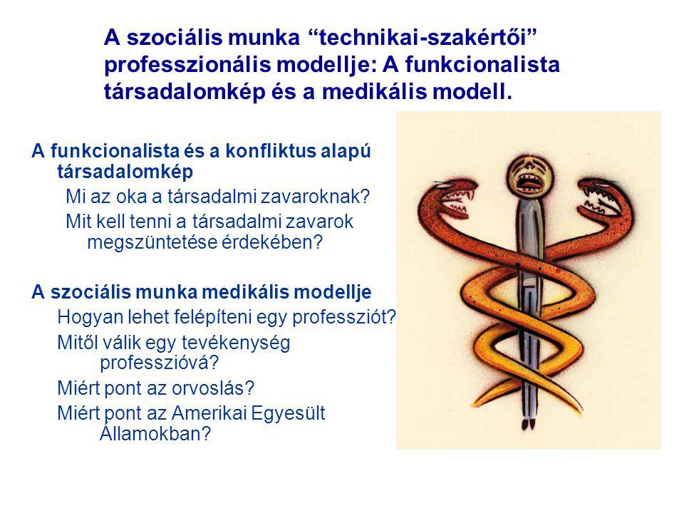 """A szociális munka """"technikai-szakértői"""" professzionális modellje: A funkcionalista társadalomkép és a medikális modell. A funkcionalista és a konflikt"""