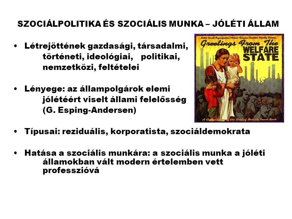 SZOCIÁLPOLITIKA ÉS SZOCIÁLIS MUNKA – JÓLÉTI ÁLLAM •Létrejöttének gazdasági, társadalmi, történeti, ideológiai, politikai, nemzetközi, feltételei •Lény