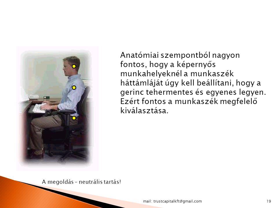 mail: trustcapitalkft@gmail.com19 A megoldás – neutrális tartás! Anatómiai szempontból nagyon fontos, hogy a képernyős munkahelyeknél a munkaszék hátt
