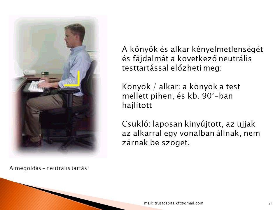 mail: trustcapitalkft@gmail.com21 A könyök és alkar kényelmetlenségét és fájdalmát a következő neutrális testtartással előzheti meg: Könyök / alkar: a