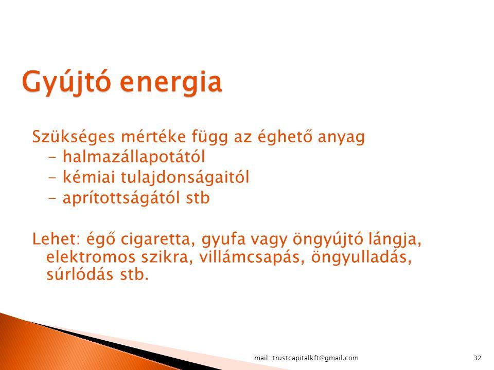 mail: trustcapitalkft@gmail.com32 Gyújtó energia Szükséges mértéke függ az éghető anyag - halmazállapotától - kémiai tulajdonságaitól - aprítottságátó