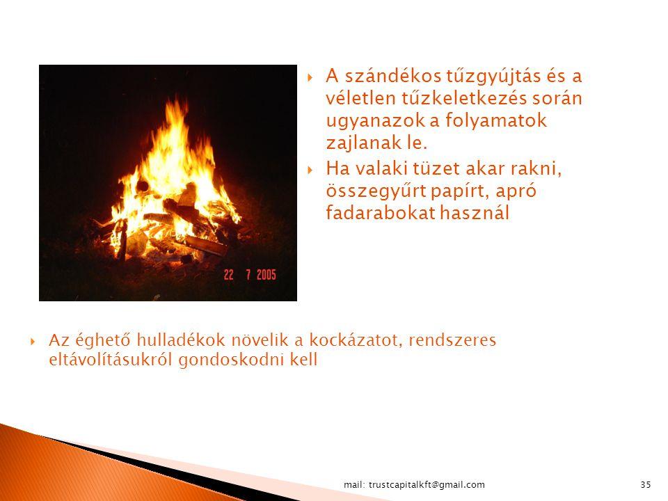 mail: trustcapitalkft@gmail.com35  Az éghető hulladékok növelik a kockázatot, rendszeres eltávolításukról gondoskodni kell  A szándékos tűzgyújtás é