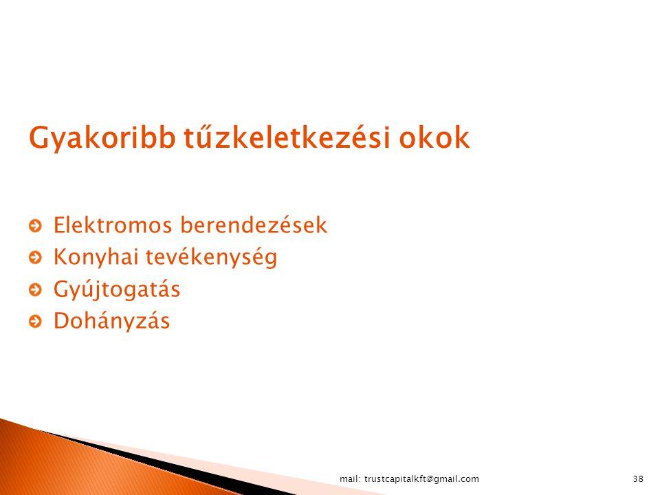 mail: trustcapitalkft@gmail.com38 Gyakoribb tűzkeletkezési okok Elektromos berendezések Konyhai tevékenység Gyújtogatás Dohányzás