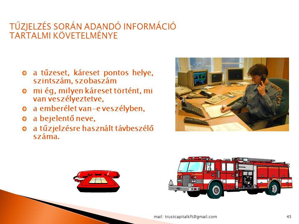 mail: trustcapitalkft@gmail.com45 TŰZJELZÉS SORÁN ADANDÓ INFORMÁCIÓ TARTALMI KÖVETELMÉNYE a tűzeset, káreset pontos helye, szintszám, szobaszám mi ég,