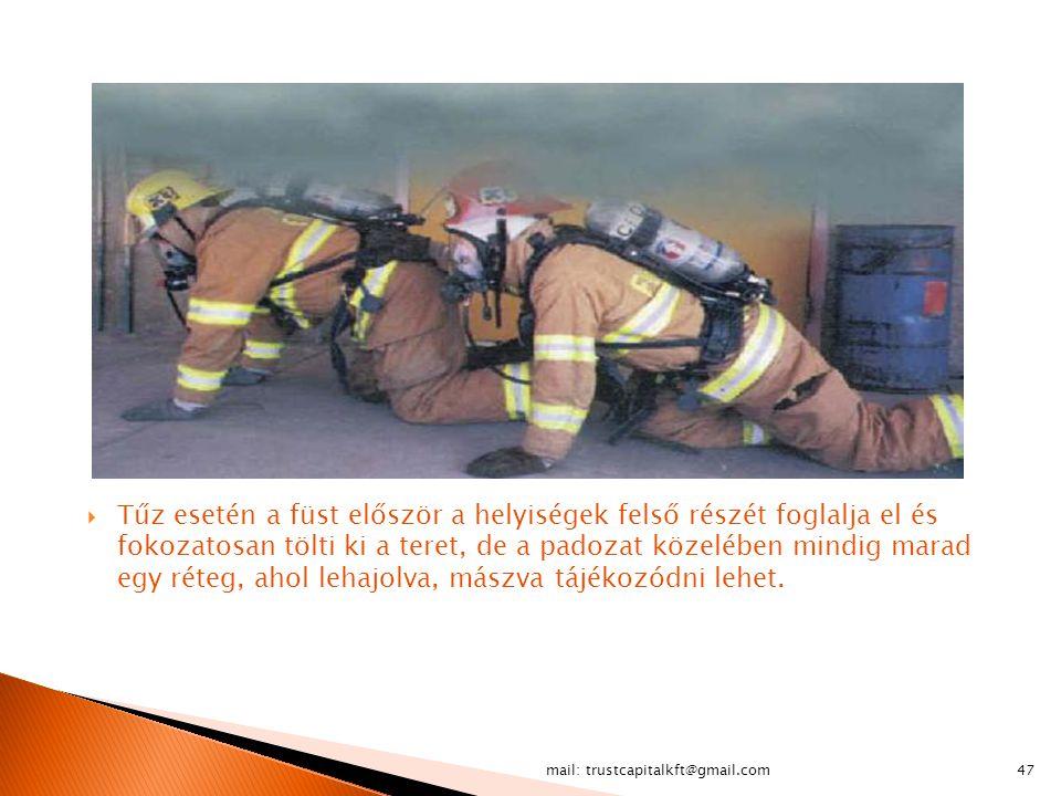 mail: trustcapitalkft@gmail.com47  Tűz esetén a füst először a helyiségek felső részét foglalja el és fokozatosan tölti ki a teret, de a padozat köze