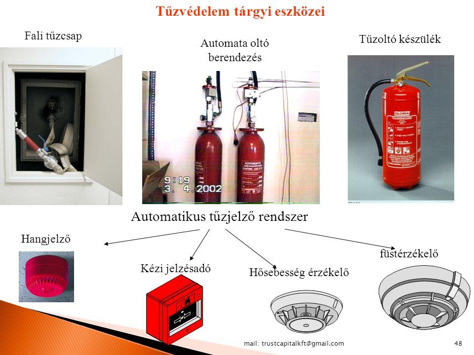 mail: trustcapitalkft@gmail.com48 Tűzvédelem tárgyi eszközei Tűzoltó készülék Fali tűzcsap Automata oltó berendezés Automatikus tűzjelző rendszer füst