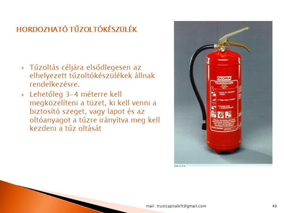 mail: trustcapitalkft@gmail.com49 HORDOZHATÓ TŰZOLTÓKÉSZÜLÉK  Tűzoltás céljára elsődlegesen az elhelyezett tűzoltókészülékek állnak rendelkezésre. 
