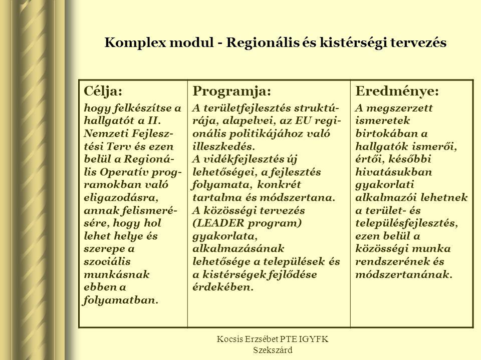 Kocsis Erzsébet PTE IGYFK Szekszárd Komplex modul - Regionális és kistérségi tervezés Célja: hogy felkészítse a hallgatót a II. Nemzeti Fejlesz- tési