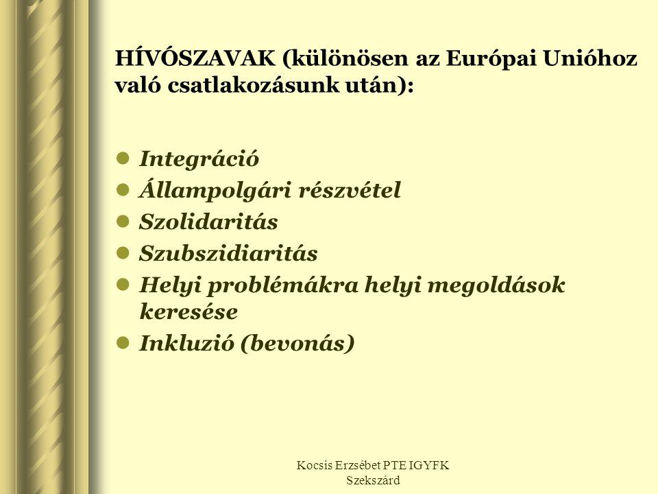 Kocsis Erzsébet PTE IGYFK Szekszárd HÍVÓSZAVAK (különösen az Európai Unióhoz való csatlakozásunk után):  Integráció  Állampolgári részvétel  Szolid